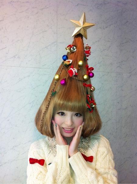 Bláznivý Vánoční účes ve tvaru Vánočního stromku